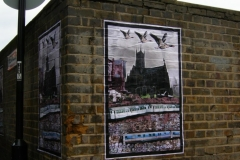 Geese, Cathedral, Crossbones. Posters by Jimmy Cauty. Photo by Katy Nicholls