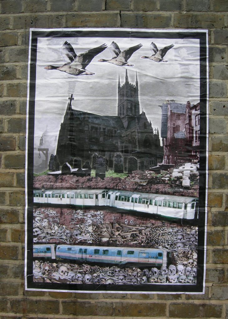 Geese, Cathedral, Crossbones - detail. Posters by Jimmy Cauty. Photo by Katy Nicholls