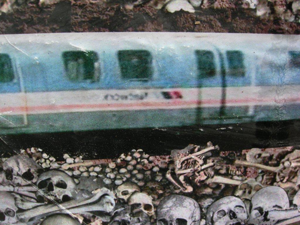 Detail - Jubilee Line desecrates Crossbones. Posters by Jimmy Cauty. Photo by Katy Nicholls