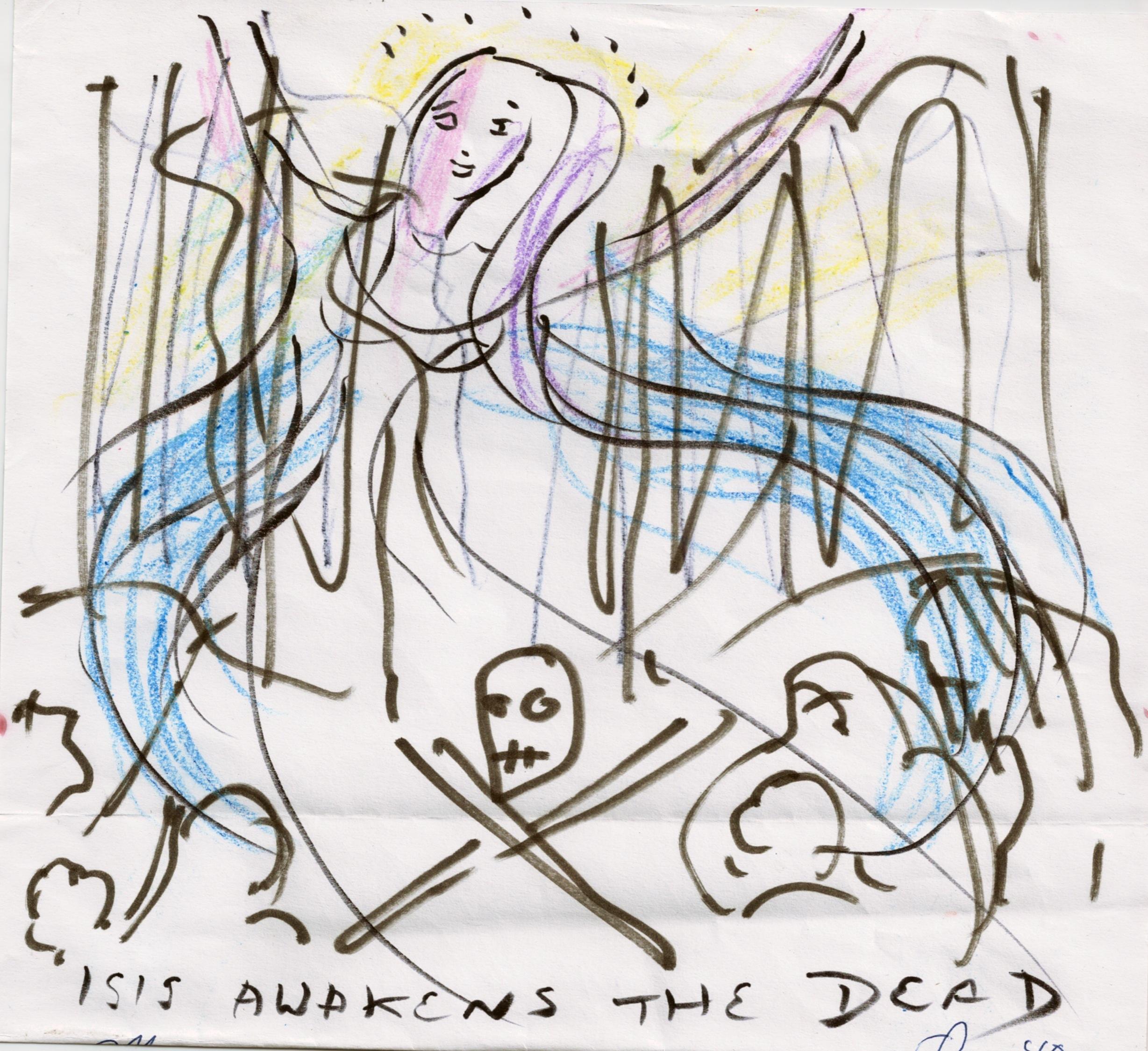 'Isis awakens the Dead' at Crossbones. Drawing by Olivia Robertson. Photo (c) Katy Nicholls