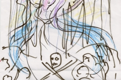 'Isis awakens the Dead' at Crossbones. Drawing by Olivia Robertson. Photo (c) Katy Nicholls